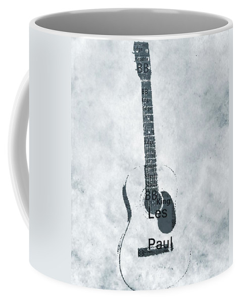 1455c8b2774 Famous Guitarists Typography Cool Coffee Mug featuring the digital art  Famous Guitarists Typography Cool by Dan