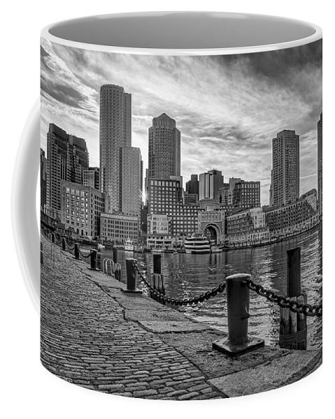 Boston Coffee Mug featuring the photograph Fan Pier Boston Harbor Bw by Susan Candelario