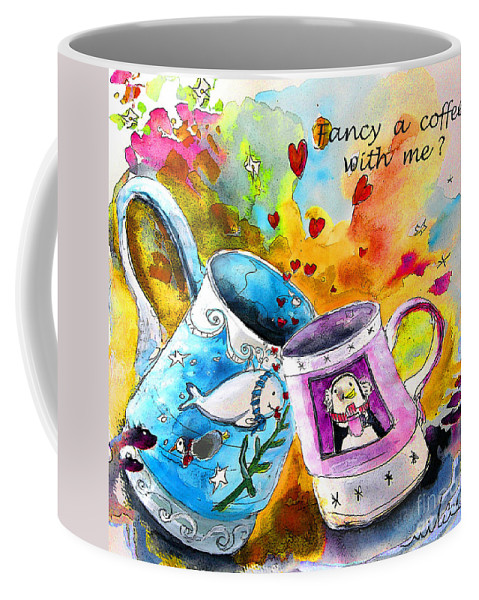 Cafe Crem Coffee Mug featuring the painting Fancy A Coffee by Miki De Goodaboom
