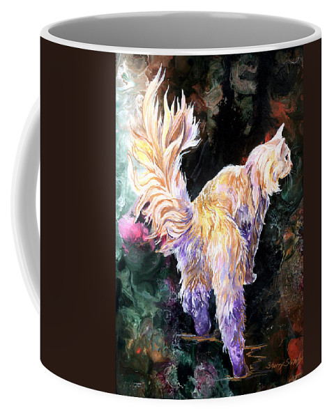 Cat Coffee Mug featuring the painting Fancy Britches by Sherry Shipley