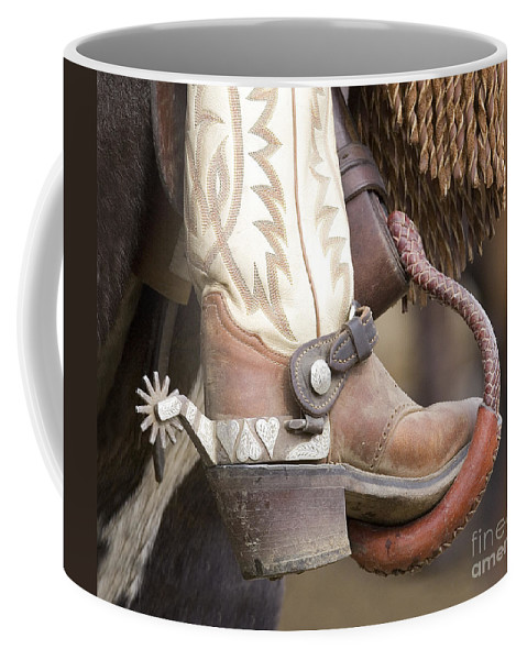 Cowboy Coffee Mug featuring the photograph Fancy Foot by Carol Walker