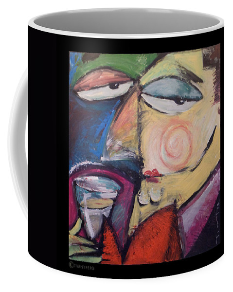 Humor Coffee Mug featuring the painting Fancy Man At Art Opening by Tim Nyberg