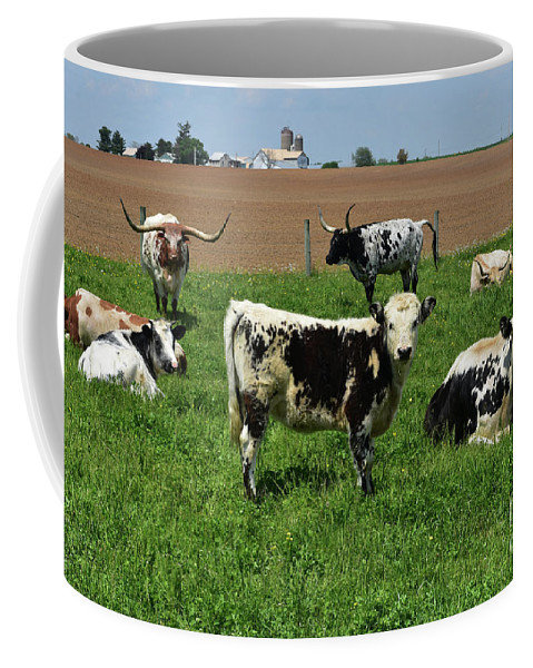 Cow Coffee Mug featuring the photograph Fantastic Farm On A Spring Day With Cows by DejaVu Designs