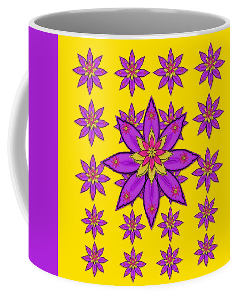 Flower Coffee Mug featuring the mixed media Fantasy Big Flowers In The Happy Jungle Of Love by Pepita Selles