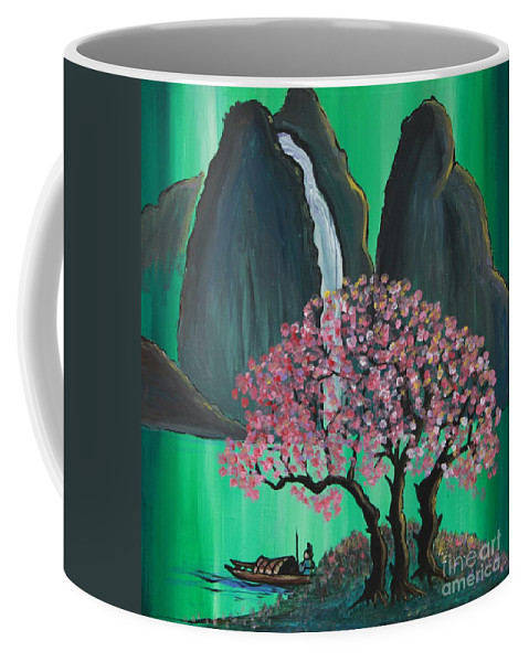 Japan Coffee Mug featuring the painting Fantasy Japan by Jacqueline Athmann