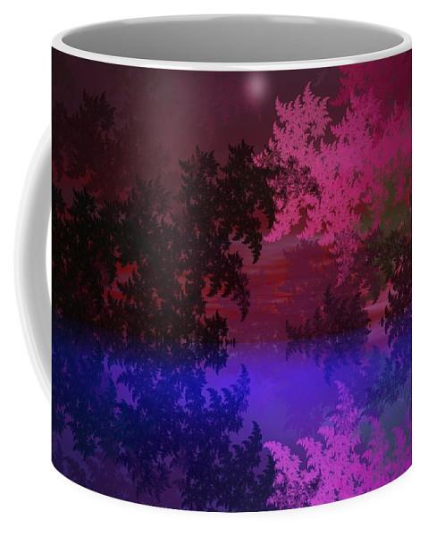 Abstract Digital Painting Coffee Mug featuring the digital art Fantasy Landscape by David Lane