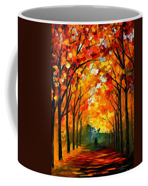 Afremov Coffee Mug featuring the painting Farewell To Autumn by Leonid Afremov