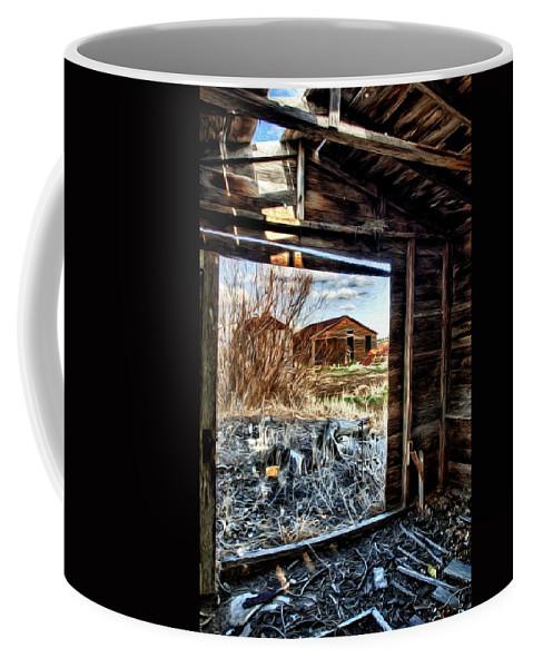 Grain Bins Coffee Mug featuring the photograph Farm Buildings by Randy Waln