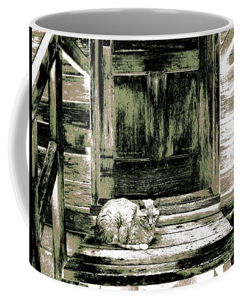 Farm Cat Coffee Mug featuring the digital art Farm Cat by Will Borden