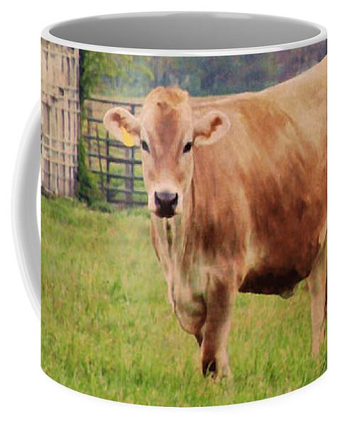 Jersey Cow Coffee Mug featuring the digital art Farm Dreamscape by Ilona Erwin