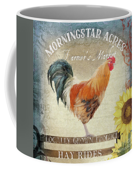 Rustic Coffee Mug featuring the painting Farm Fresh Barnyard Rooster Morning Sunflower Rustic by Audrey Jeanne Roberts