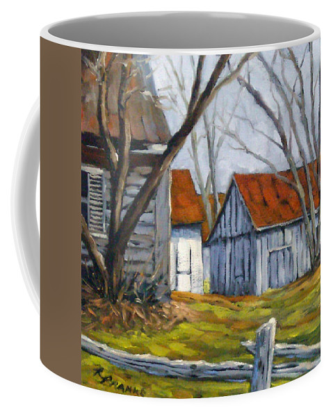 Farm Coffee Mug featuring the painting Farm In Berthierville by Richard T Pranke