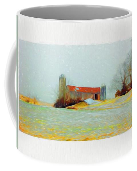 Farm Coffee Mug featuring the mixed media Farm In The Country by Debra Lynch