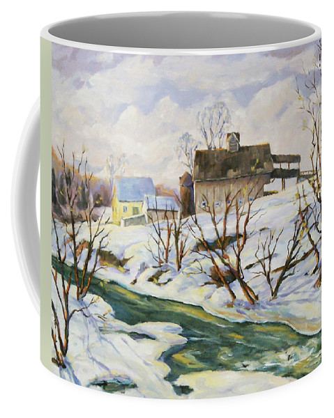 Farm Coffee Mug featuring the painting Farm In Winter by Richard T Pranke