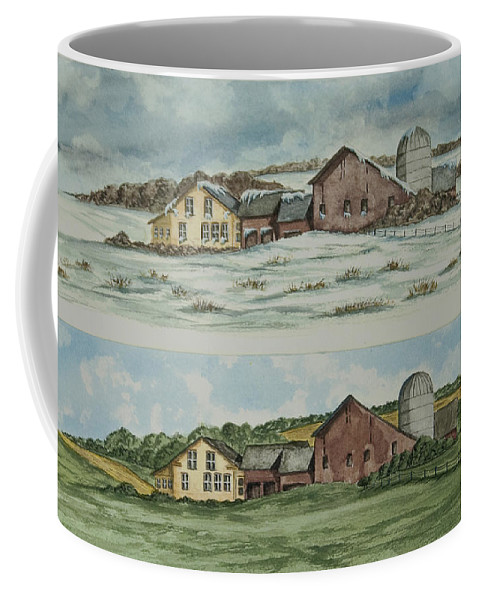 Winter Coffee Mug featuring the painting Farm Of Seasons by Charlotte Blanchard
