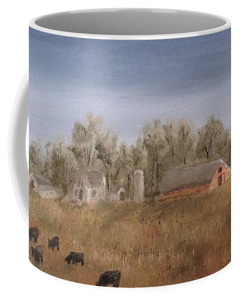 Landscape Coffee Mug featuring the painting Farm With Cows by J O Huppler