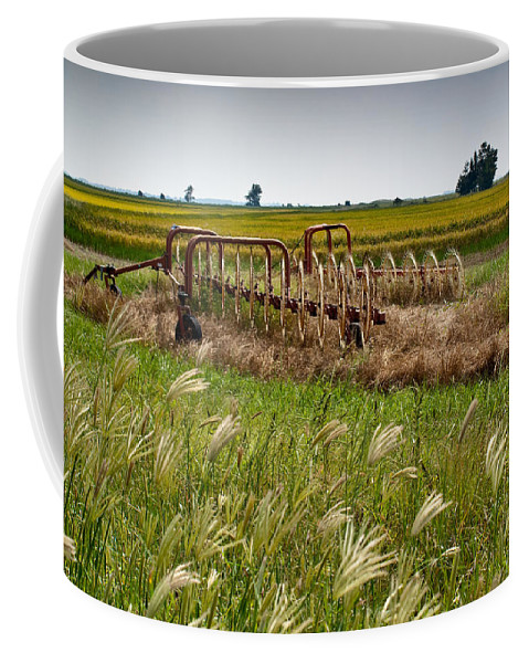 Farm Coffee Mug featuring the photograph Farm Work Wiind And Rain by Douglas Barnett