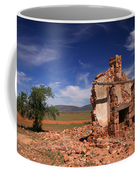 Cottage Coffee Mug featuring the photograph Farmhouse Cottage Ruin Flinders Ranges South Australia by PIXELS XPOSED Ralph A Ledergerber Photography
