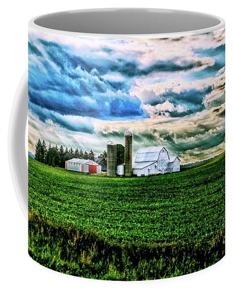 Barn Coffee Mug featuring the photograph Farmland In Hdr by Debbie Nobile