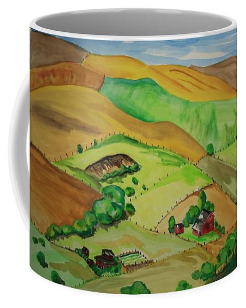 Farms Coffee Mug featuring the painting Farmville by Sarah Hamilton