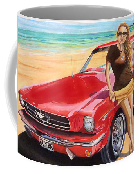 Coffee Mug featuring the painting Fast Back And I by Veronica Castaneda