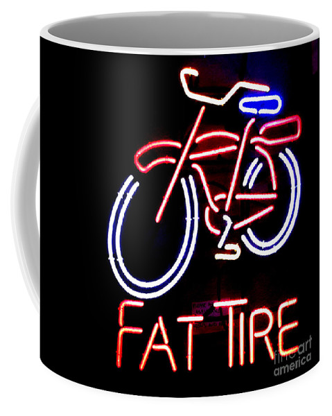Neon Coffee Mug featuring the photograph Fat Tire Neon Sign by Flo DiBona