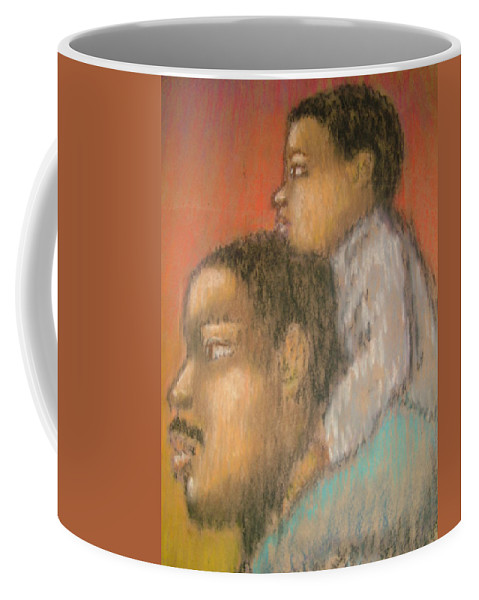 Coffee Mug featuring the drawing Father And Son by Jan Gilmore