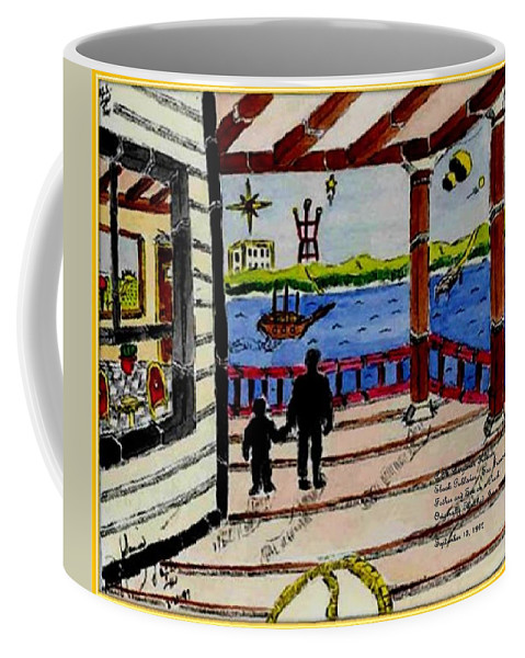 Boy Coffee Mug featuring the painting Father And Son On The Porch by Anthony Benjamin