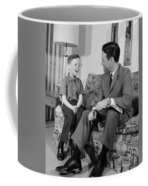 1960s Coffee Mug featuring the photograph Father And Son Talking And Smiling by H. Armstrong Roberts/ClassicStock