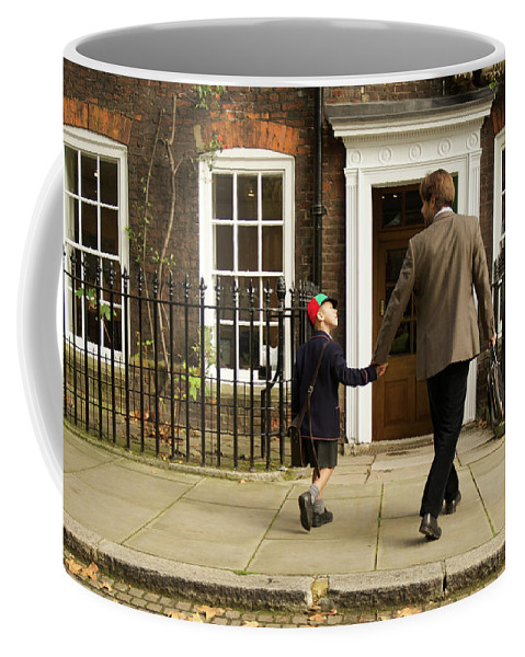 Britain Coffee Mug featuring the photograph Father And Son Walking Towards Georgian Entrance by Ndp
