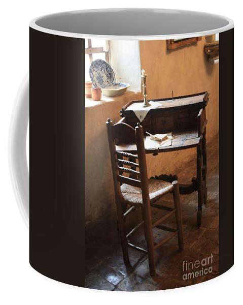 Carmel Mission Coffee Mug featuring the photograph Father Serra's Desk by Carol Groenen
