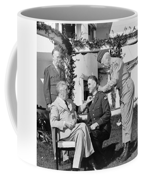 Franklin Roosevelt Coffee Mug featuring the photograph Fdr Presenting Medal Of Honor To William Wilbur by War Is Hell Store