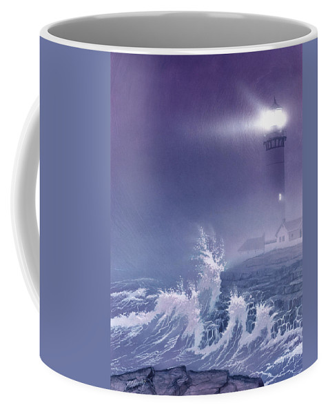 Lighthouse Coffee Mug featuring the painting Fearless - Psalm 27 by Cliff Hawley
