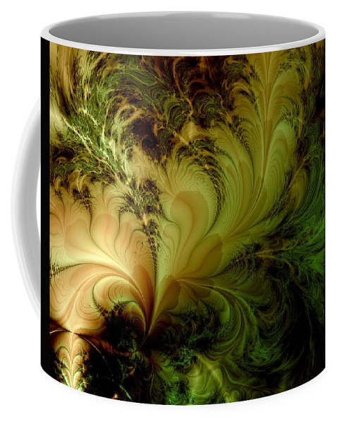 Feather Coffee Mug featuring the digital art Feathery Fantasy by Casey Kotas