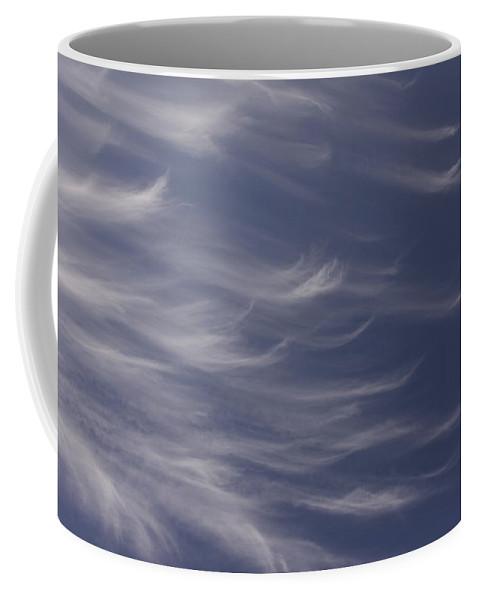 Sky Blue Clouds White Feather Photography Photograph Coffee Mug featuring the photograph Feathery Sky by Shari Jardina