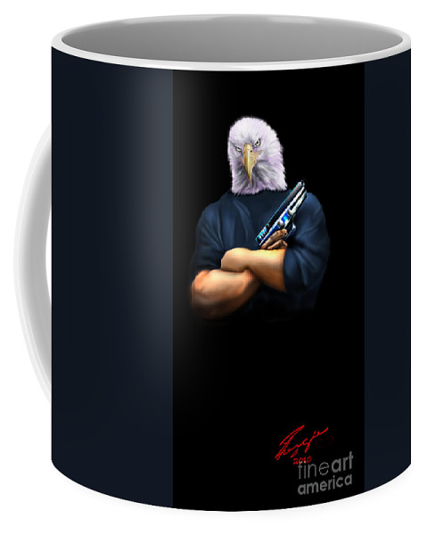 American Eagle Coffee Mug featuring the painting Fed Up 2 by Reggie Duffie