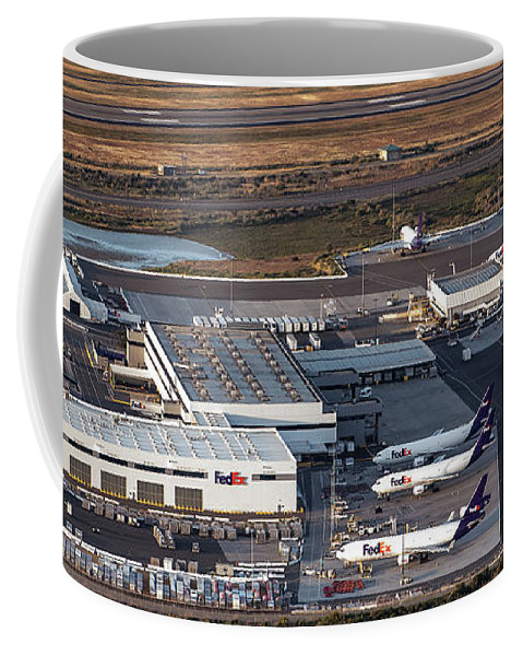 Fedex Ship Center Coffee Mug featuring the photograph Fedex Express Fedex Ship Center At Oakland International Airport by David Oppenheimer