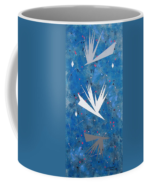 Birds And Diamond Stars Coffee Mug featuring the painting Feeding Frenzy by J R Seymour