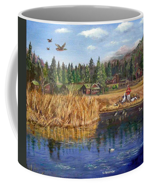Landscape Coffee Mug featuring the painting Feeding The Ducks by Olga Kaczmar