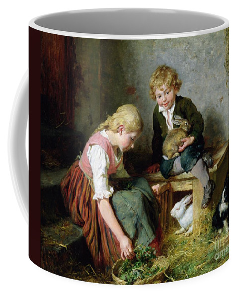 Feeding Coffee Mug featuring the painting Feeding The Rabbits by Felix Schlesinger