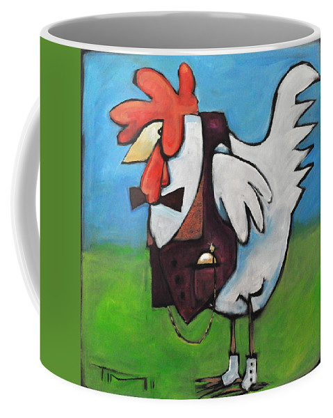 Rooster Coffee Mug featuring the painting Feelin Cocky by Tim Nyberg