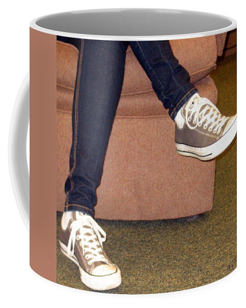 Feet Coffee Mug featuring the photograph Feet In A Book Store by Amy Hosp