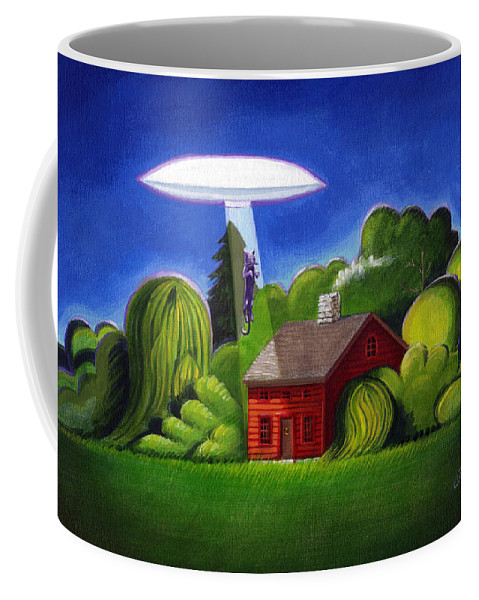 Deecken Coffee Mug featuring the painting Feline Ufo Abduction by John Deecken
