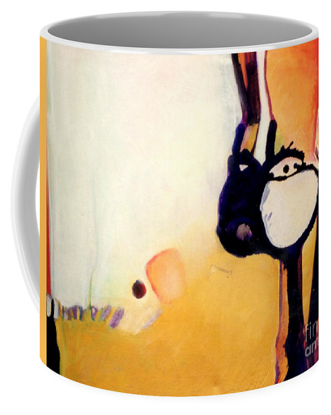 Abstract Coffee Mug featuring the painting Felix A Whole New Ballgame by Marlene Burns