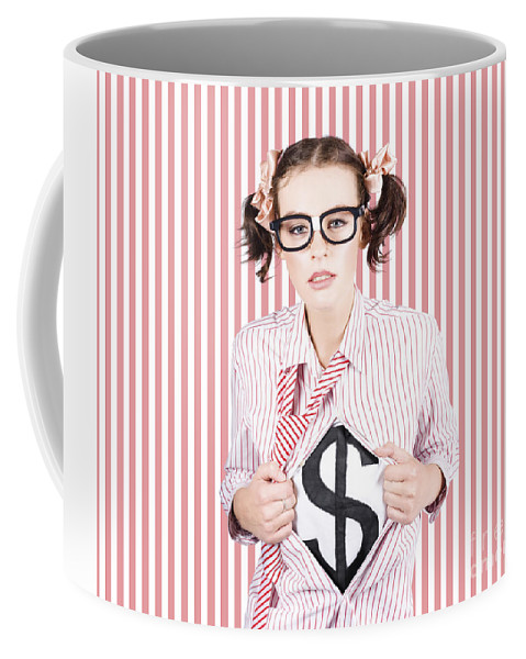 Adult Coffee Mug featuring the photograph Female Business Superhero Showing Dollar Sign by Jorgo Photography - Wall Art Gallery
