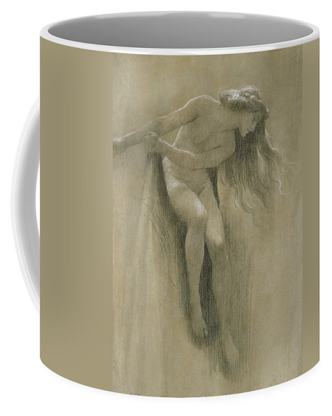 Female Nude Study (chalk On Paper) By John Robert Dicksee (1817-1903) Coffee Mug featuring the pastel Female Nude Study by John Robert Dicksee