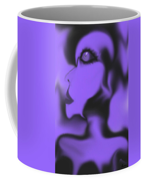 Female Space Face Alien Outerspace Purple Black Imagination Another World Planets Coffee Mug featuring the digital art Female Space Face by Andrea Lawrence