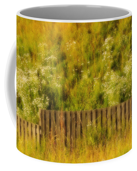 Wildflowers Coffee Mug featuring the photograph Fence And Hillside Of Wildflowers On Suomenlinna Island In Finland by Greg Matchick