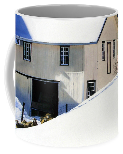 Barn Coffee Mug featuring the painting Fenced In by Denny Bond