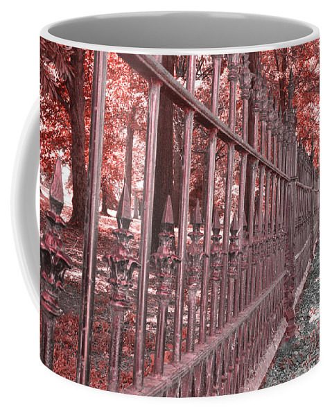Red Coffee Mug featuring the photograph Fenced In Red by Larry Jost